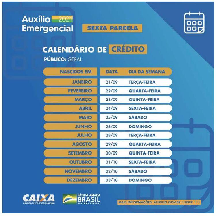 Calendário de pagamento da sexta parcela do auxílio emergencial - Caixa/Divulgação