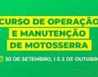 Prefeitura recebe inscrições para curso gratuito de Operação e Manutenção de Motosserra