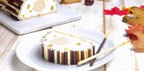Torta com creme de castanha e creme de queijo