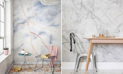 Como decorar com papel de parede que imita mármore