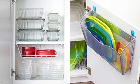 DICAS: Como organizar potes plásticos nos armários da cozinha
