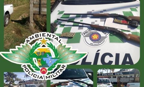 Polícia Ambiental de Salmourão localiza armadilha para animais silvestres e apreende  armas de fogo
