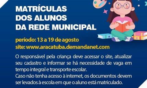 Matrículas dos alunos na Rede Municipal de Araçatuba