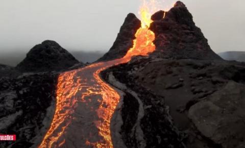 Drone registra vídeo impressionante de erupção de vulcão na Islândia