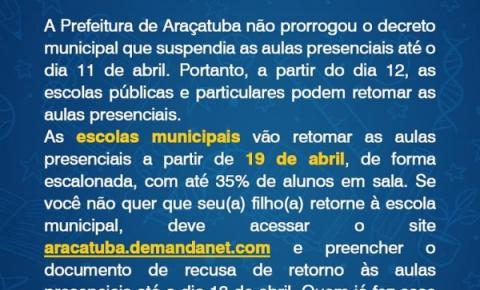 Retorno às aulas presenciais em Araçatuba