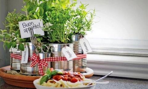 Faça você mesmo uma mini-horta com latas de alumínio