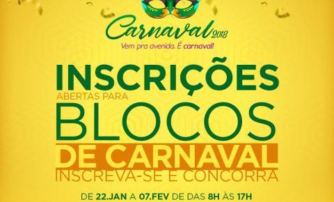 Cultura abre inscrições para blocos de carnaval